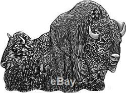 1000 Frcs Burkina Faso 2016 World´s Eight Bison 1oz Silver 0.999 Cut Out Coin