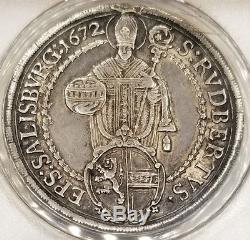 1672 Austrian States Salzburg 1 Thaler World Silver Coin ANACS EF45 Details