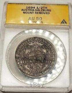 1694 Austrian States Salzburg 1/2 Thaler World Silver Coin ANACS AU50 Details