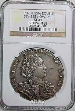 1707 Russia Peter I (the Great) Novodel Rouble Ngc Xf-45 L@@k