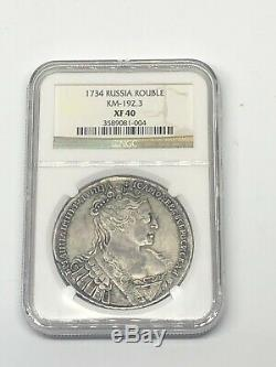 1734 Russia Rouble NGC XF40 SILVER World Coin EXTREMELY RARE TYPE