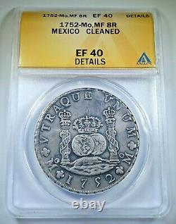 1752 XF Details Mexico Silver 8 Reales Antique 1700s Colonial Pillar Dollar Coin