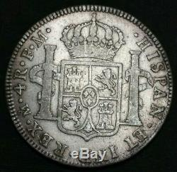 1796 FM Mexico 4 Reales Bust King Charles IV Scarce Milled World Silver Coin