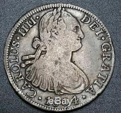1804 T. H Mexico 8 Reale Milled Bust Colonial Piece Of Eight World Silver Coin
