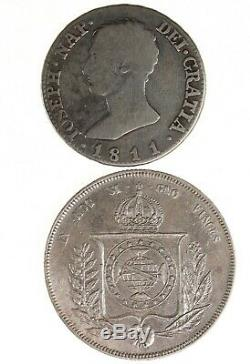 1811 Spain 4 Reales & 1855 Brazil 1000 Reis Silver World Coin Lot Of 2