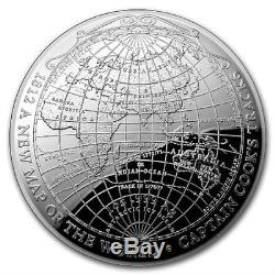 1812 NEW MAP OF THE WORLD CAPTAIN COOK'S TRACKS 2019 1 oz Pure Silver Dome Coin