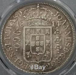1814 R Brazil Large Crown Silver 960 Reis AU 50 PCGS South America World Coin