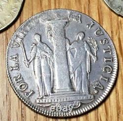 1822 Peru 8 reales XF-AU First Coin of Peru Bolivar Lima Republic silver