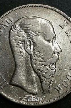 1866 MO Mexico 1 Un Peso Empire Of Maximilian Second Empire World Silver Coin