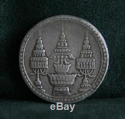 1869 Silver 1 Baht Thailand World Coin Asia Thai King Rama V Chakra Elephant a