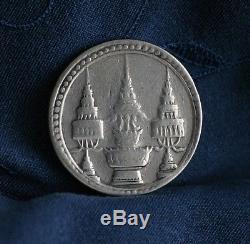 1869 Silver 1 Baht Thailand World Coin Asia Thai King Rama V Chakra Elephant c