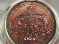 1876 CM 11 Julian World's Fair 57mm Copper Medal Coin Sterling Silver Porringer