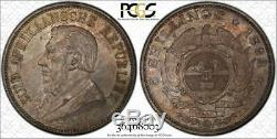 1892 South Africa 5 Shillings Double Shaft PCGS MS63 UNC Rare Silver World Coin