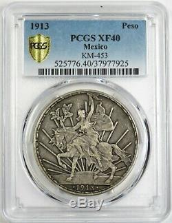 1913 Caballito PCGS XF 40 Silver Mexico Peso KM-453 Large World Coin #20071A