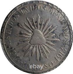 1914 1 Peso Muera Huerta Durango, Mexico Revolutionary Coin PCGS AU53 KM#622