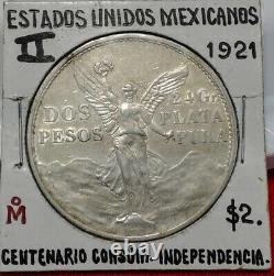 1921 Mexican Silver 2 Pesos Winged Victory Angel De La Independencia