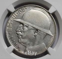 1928 Italy 20 Lire KM# 70 Silver Coin NGC XF Details End of World War I RARE
