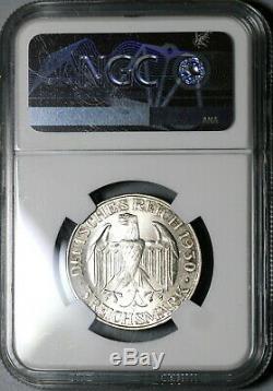 1930-F NGC MS 64+ Zeppelin World Flight Germany Silver 3 Mark Coin (19122203D)