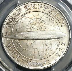 1930-F PCGS MS 65+ Zeppelin World Flight Germany 5 Mark Silver Coin (19121701D)