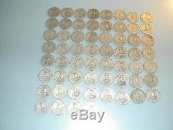 1941 1945 World War 2 Era Old US Silver Washington Quarter Dollar 60 Coin Lot
