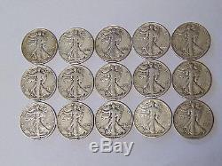 1941-1945 World War II Set of Walking Liberty Half Dollars All 15 Coins