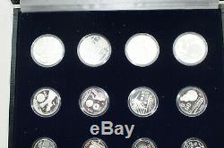 1986 World Cup Mexico Silver Proof Set (12 Coins25P, 50P, 100P), Display Case w COA