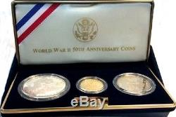 1991-1995-WORLD-WAR-II-50TH-ANNIVERSARY-3-COIN-GOLD-SILVER-PROOF-SET as Issued