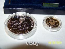 1991-1995 W World War II USA 3 Coin Proof Set. 24 Oz Gold $5 Silver $1 & Halve