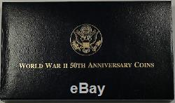1991-95 US Mint World War 2 Commem 3 Coin Silver & Gold UNC Set as Issued DGH