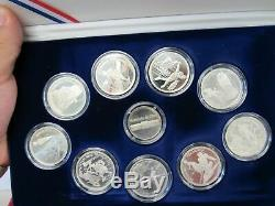 1992 Albertville And Sayoie Winter Olympics 9 Silver Coin Set (12075-world-mss)