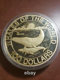 1993 Whales Of The World Fine Silver Kilo Coin Bahamas With Wooden Box And Coa
