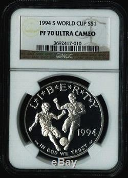 1994 S World Cup Soccer Commemorative Silver Coin $1 NGC PF 70 PF70 ULTRA CAMEO