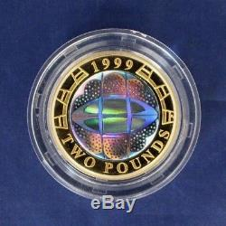 1999 Silver Piedfort Proof £2 coin Rugby World Cup in Case with COA (K4/11)