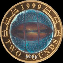 1999 Silver Proof Piedfort HOLOGRAM Rugby World Cup £2 Coin 10,000 MINTED ONLY