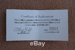 1st Disneyana Convention 1992 Disney World Fantasia. 999 Silver Coin Medallion