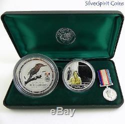 2003 AUSTRALIANS AT WAR WORLD WAR 11 2oz Kookaburra Coin & 1oz Medallion Set