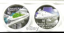 2004 GREAT RAIL JOURNEYS OF THE WORLD 5 x 1oz Pure Silver Proof Coin Set