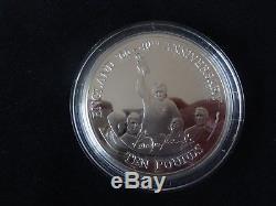 2006 SILVER PROOF 5OZ GIBRALTAR £10 COIN BOX + COA BOBBY MOORE 40th WORLD CUP