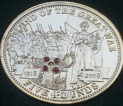 2008 Tdc Piedfort World War Silver Gold Proof Rubies Saphire £5 Coin