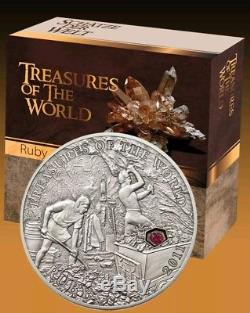 2011 5$ Treasures of the World RUBY Silver Coin with REAL RUBY INSERT