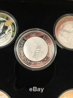 2011 fiji 5pc world zoom sydney new york paris berlin tokyo 2oz silver coin set