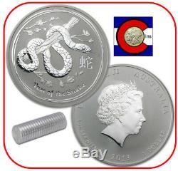 2013 Australia Lunar Snake 1 oz Silver Coin, Series II - Roll of 20 Coins
