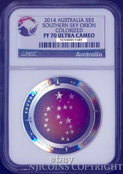 2014 1Oz Silver Domed Constellation Orion $5 NGC PF70 SOUTHERN SKY Coin