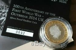 2014 Outbreak Anniversary 1st World War £2 Silver Proof Piedfort Coin Box COA