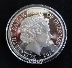2014 Silver Proof 5oz Guernsey £10 Coin Box + Coa First World War Anni 1/450