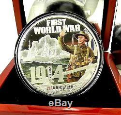 2014 WORLD WAR 1 DECLARED 5oz Silver Proof Coin WW1