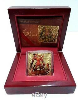 2015 2$ World Heritage St. Michael 1 Oz Gilded Silver Coin Coa