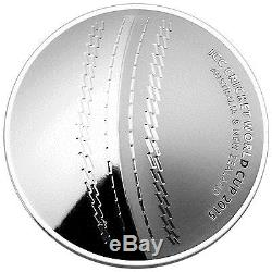 2015 ICC Cricket World Cup $5 Silver Proof Domed Coin + Free Signed Cricket Ball