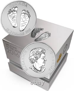 2016 Baby Gift Welcome to the World Pure Silver $10 1/2OZ Coin Canada Baby Feet