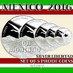 2016 MEXICO SET OF 5 SILVER LIBERTAD PROOF COINS in Original Mint Capsules